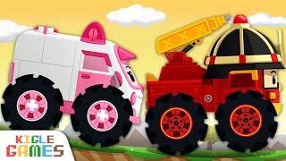 엠버와 로이를 수리해줘요! | 로보카 폴리 정비놀이 | 경찰차 구급차 소방차 출동 중장비 자동차 세차 놀이 | 키글 게임 | KIGLE GAMES