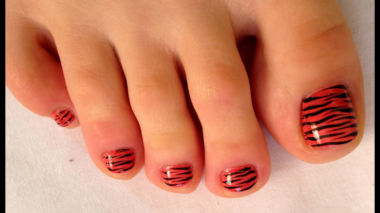 Pedicur Nail Art - Zebra! Toe nail art design! Педикюр \