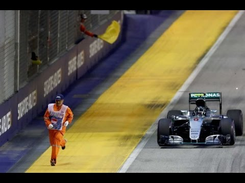 Singapore Grand Prix near miss as F1 marshal flees the track mid-race