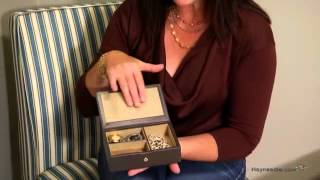Small Leather Jewelry Box With Snap Closure - 6.5w X 1.75h In. - Product Review Video