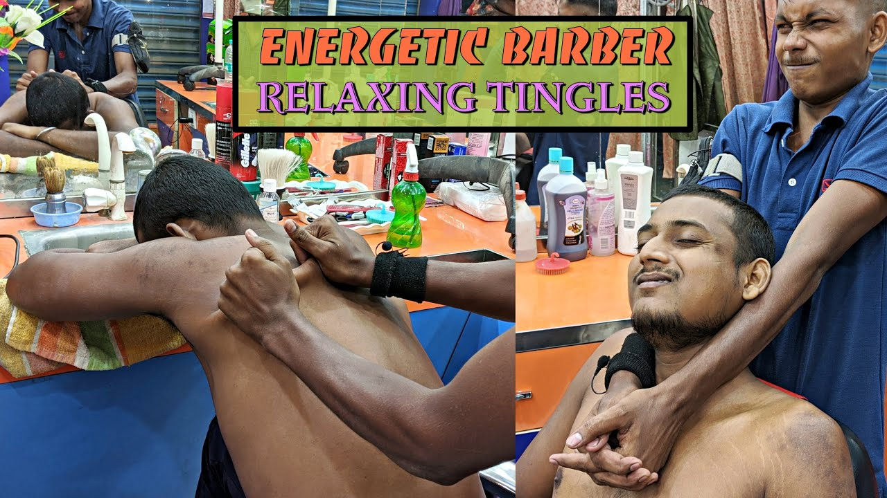 Powerful Head massage by Junior Barber / Relaxing Body massage with Neck Cracking / ASMR