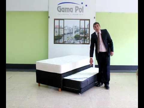 Gamapol cama nido con dos colchones de resortes youtube for Colchones para sofa cama dos plazas