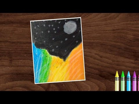Easy Landscape Scenery Drawing for Beginners with Oil Pastels | Kids Drawing and Crafts