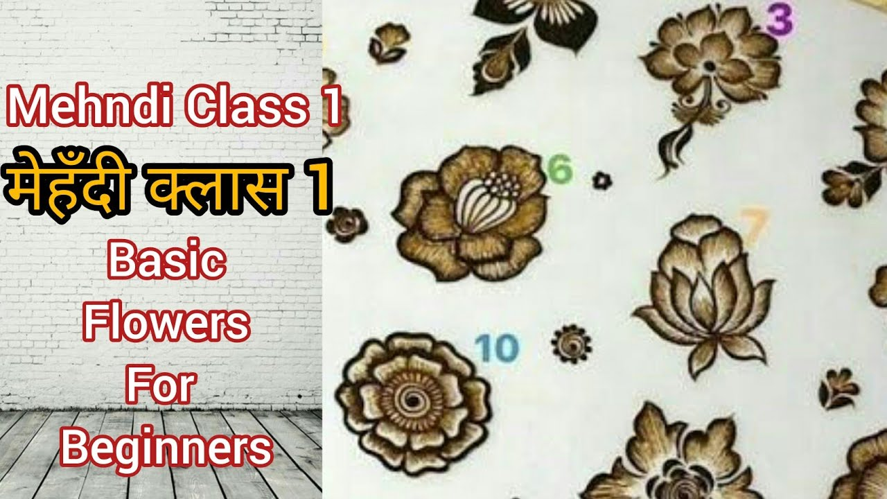 MEHNDI CLASS 1 | TYPES OF BASIC FLOWERS FOR BEGINNERS | BASIC FLOWERS DESIGN | MEHNDI DESIGNS