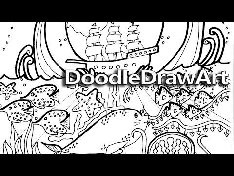 Doodle Coloring Page Ocean Doodle