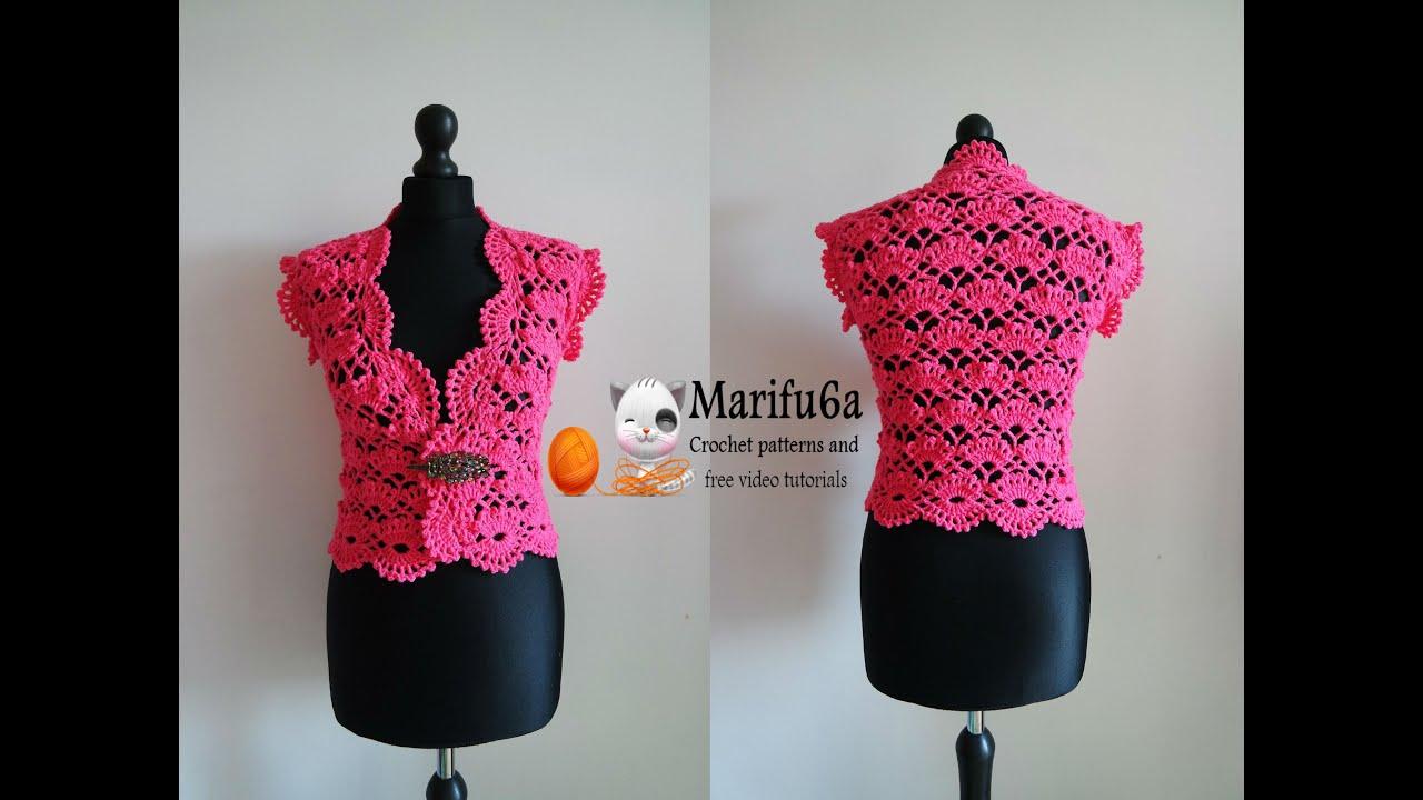 How To Crochet Elegant Bolero Chaleco Shrug Free Tutorial