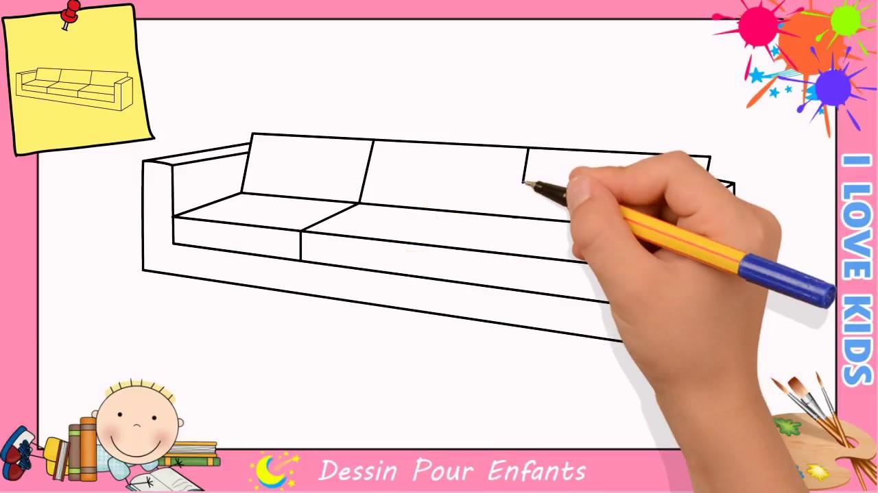 comment dessiner un canapé facilement etape par etape pour enfants