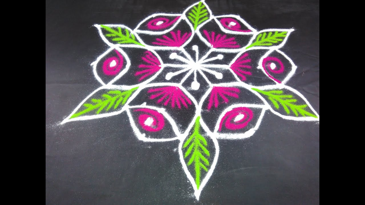 Easy rangoli designs for home with colour homemade ftempo for Home made rangoli designs