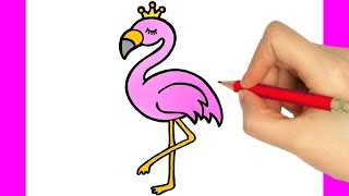 HOW TO DRAW A CUTE FLAMINGO EASY STEP BY STEP