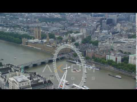 Big Ben and Parliament from the London Eye, England Aerial Stock Footage | AX114 185 4K youtube
