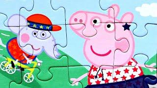 Свинка Пеппа играет с друзьями собираем пазлы для детей с героями мультика свинка пеппа