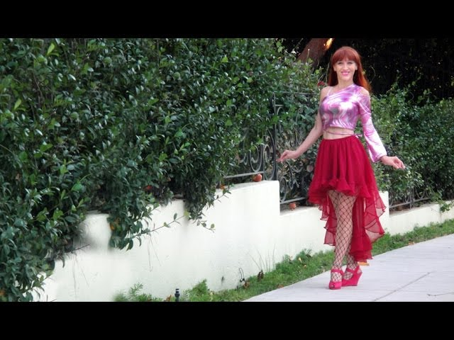 High low SKIRT with ruffle. Ameynra Fashion hot style by Sofia Metal Queen