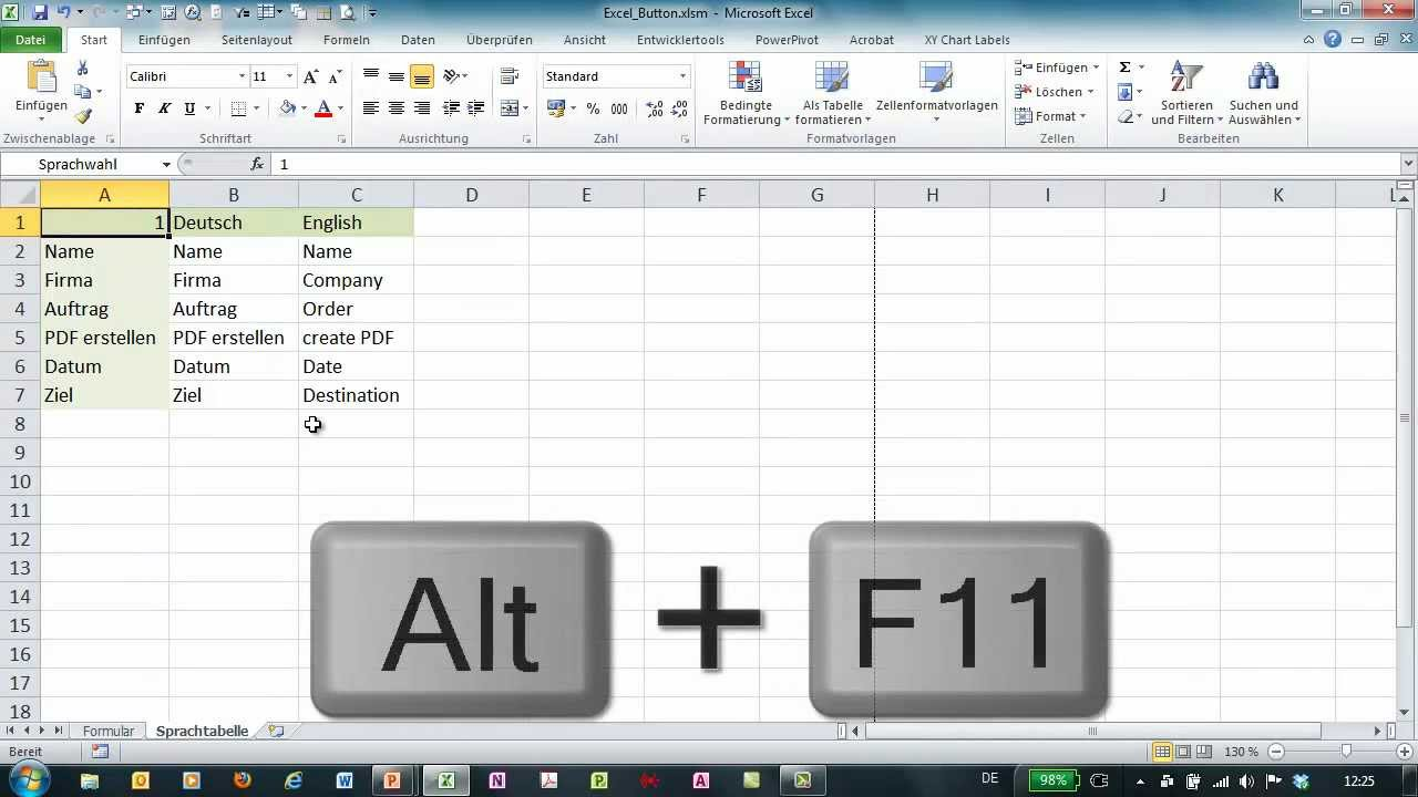 Excel - Formulare mit Schaltflächen - Wechsel der Formularsprache ...