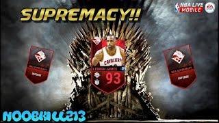 NBA LIVE Mobile Supremacy Complete!! 93 OVR Lebron James!!