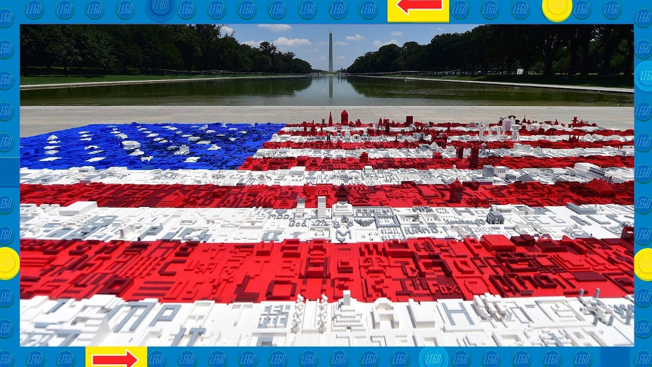 Time Lapse of Stunning LEGO American Flag Community Build