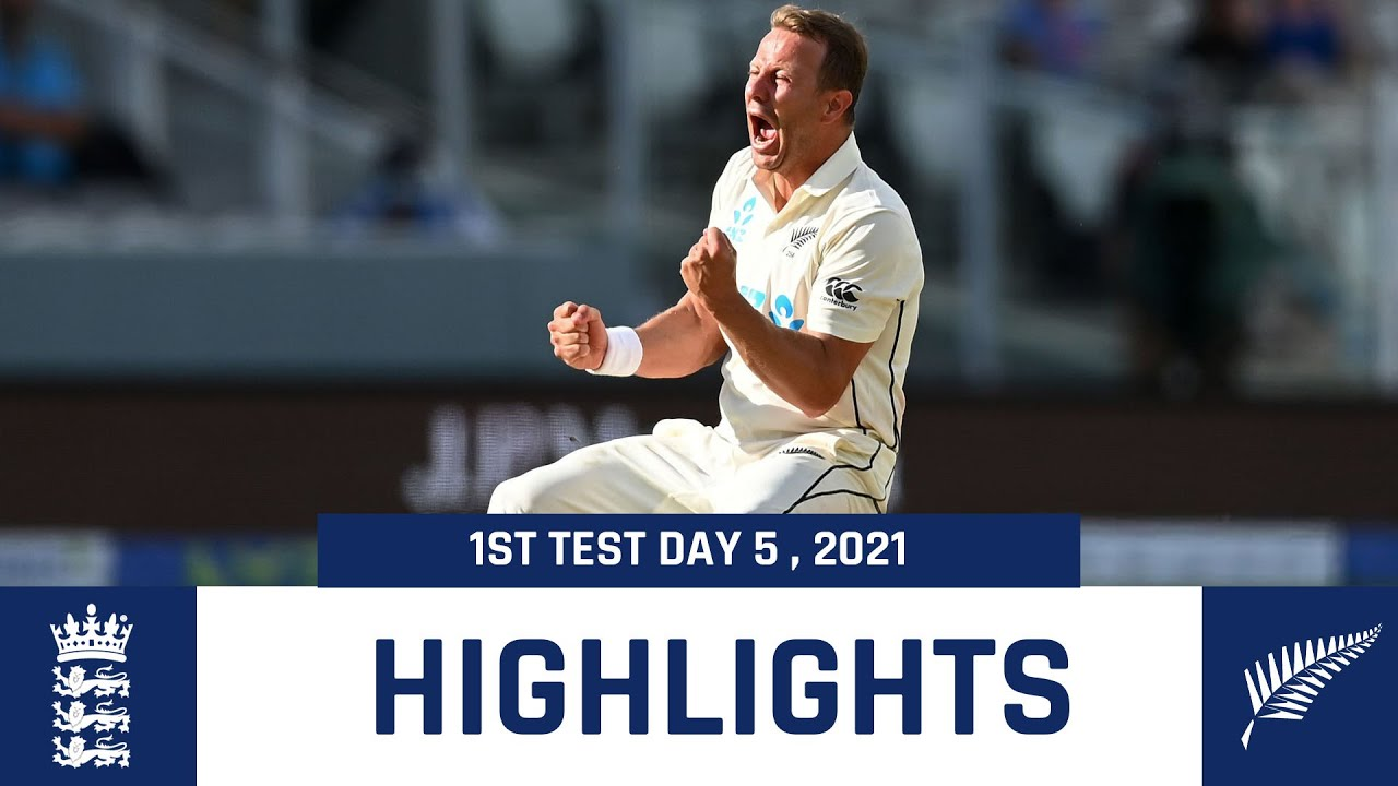 England Vs New Zealand 1st Test Day 5 highlights