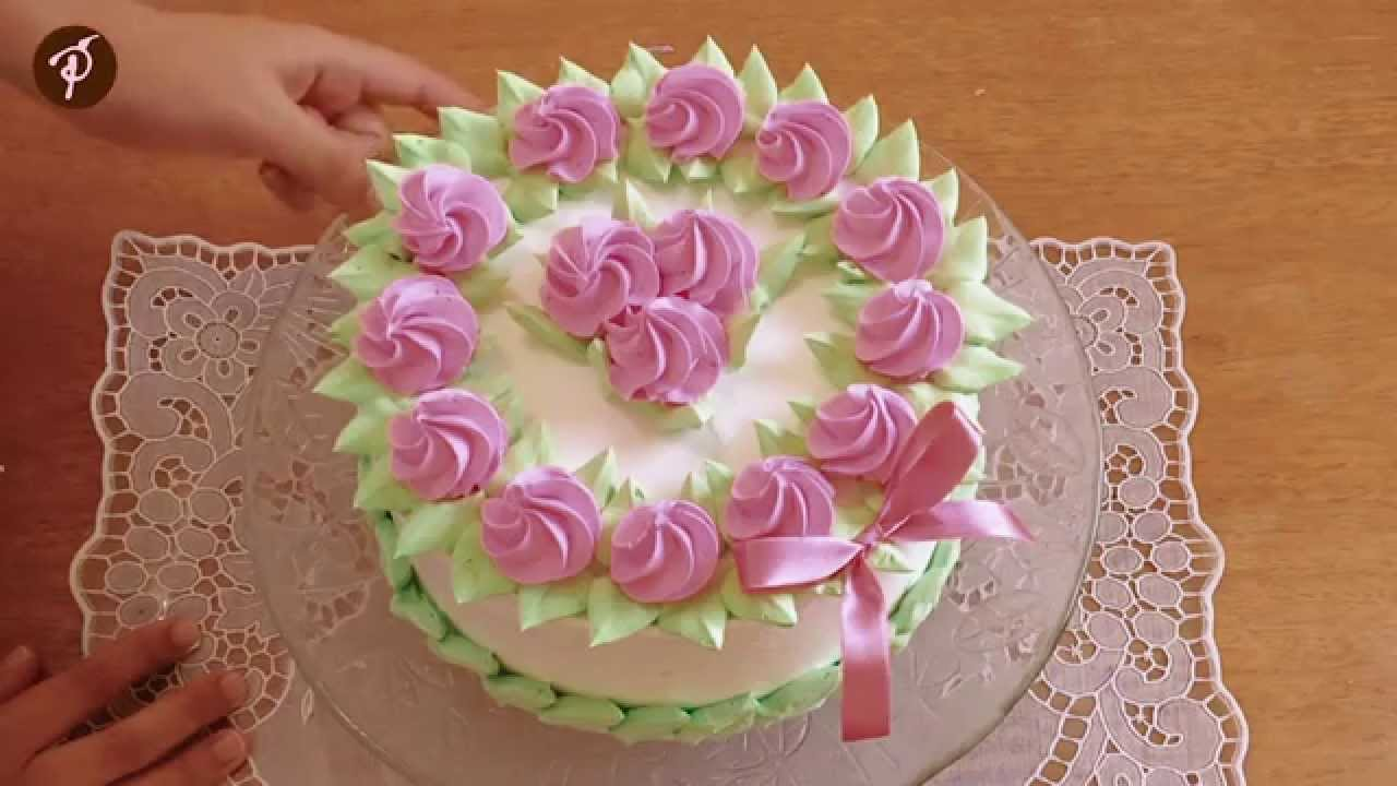 Populares Bolos decorados em 1 minuto - Chantilly Rosa e Verde - YouTube IP57