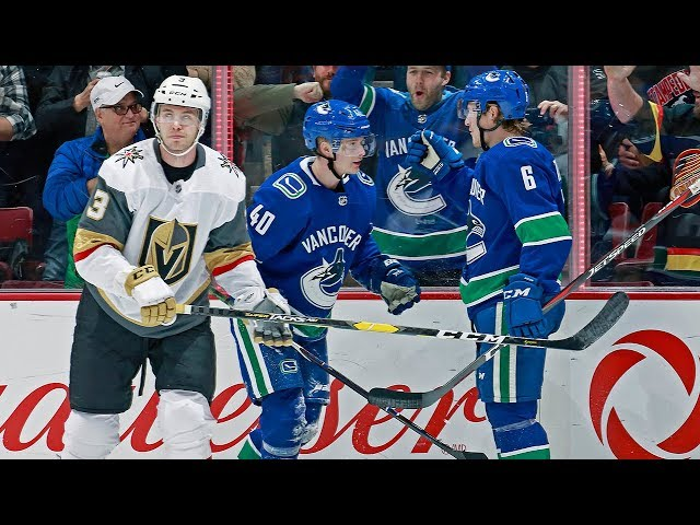 Elias Pettersson sets up Brock Boeser from the ice