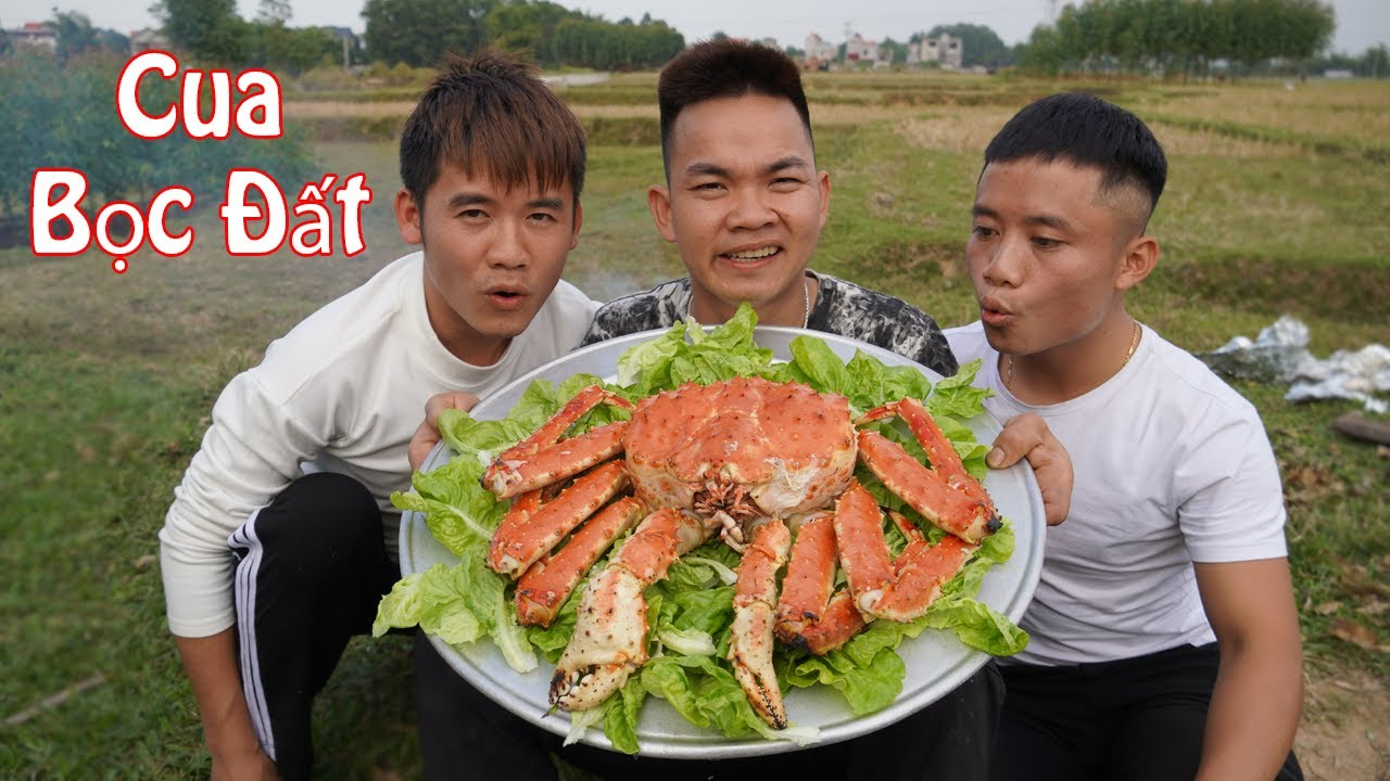 Hưng Troll | Lần Đầu Nướng Cua Hoàng Đế Bọc Đất Siêu To Khổng Lồ | King Crab