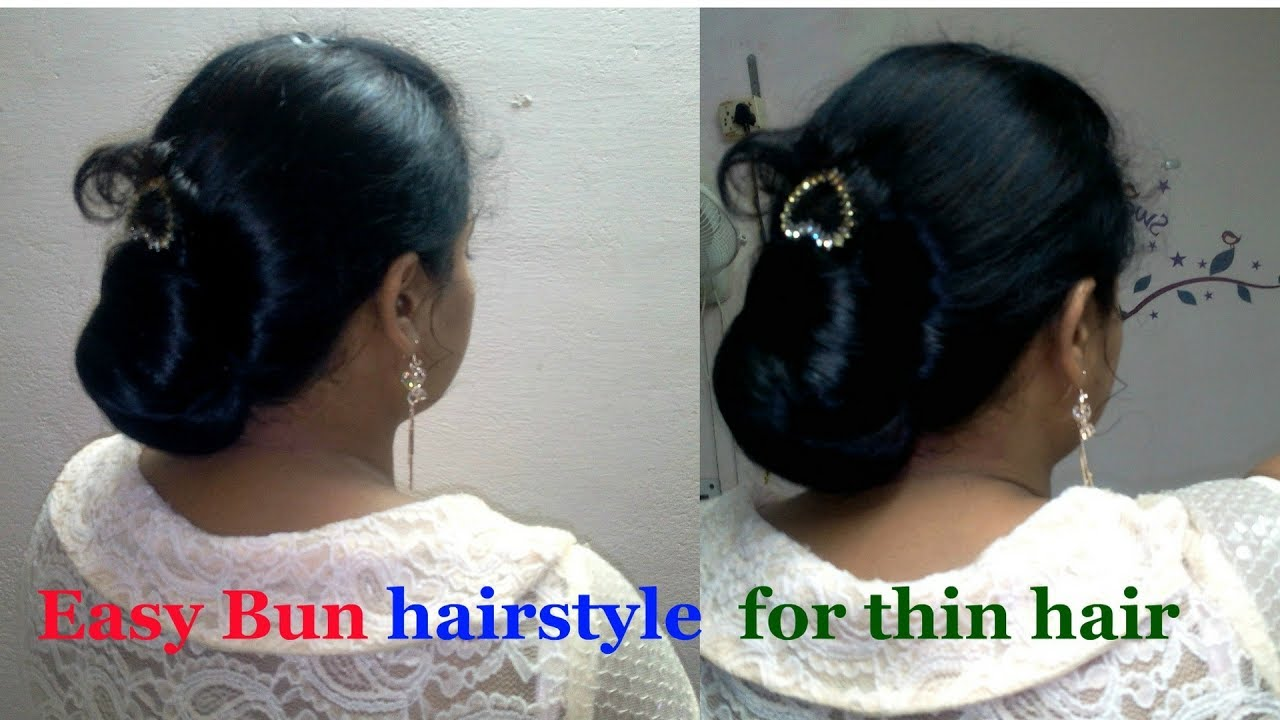 thin hair hairstyle for work/party |easy bun hairstyle for thin hair |  saree hairstyle |d.i.y
