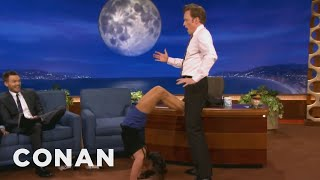Nina Dobrev Uses Conan As Her Human Yoga Wall - CONAN on TBS