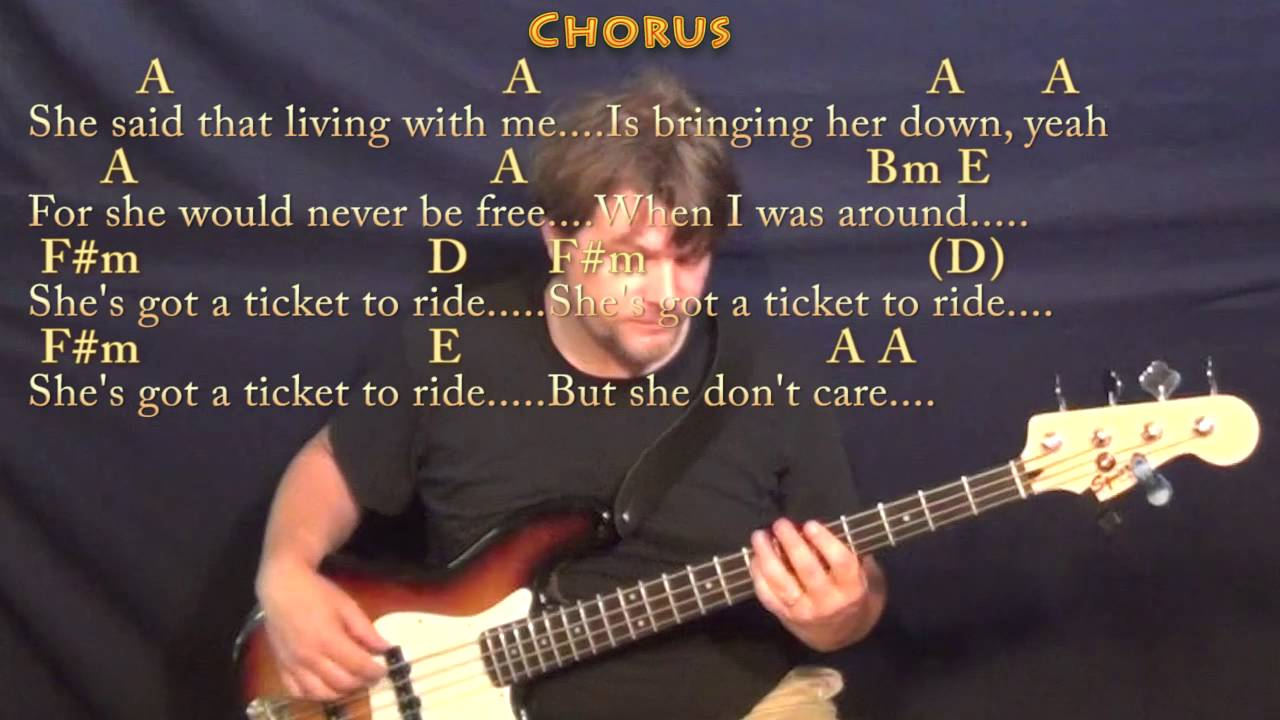Ticket to Ride The Beatles Bass Guitar Cover Lesson in A with  Chords/Lyrics