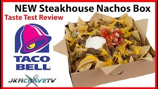Taco Bell NEW $5 Steakhouse Nachos Box Taste Test and Review | JKMCraveTV