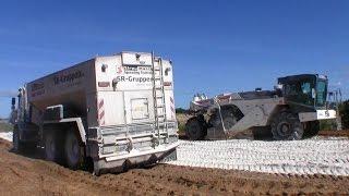 Wirtgen WR 2400 Soil Stabilizer And Rhino 6x6 Lime Spreader Working