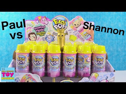 Paul vs Shannon PushMi Ups Pikmi Pops Surprise Challenge Toy Review | PSToyReviews