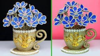 How to Make Jute Flower Showpiece Vase | Jute Art and Craft | Jute Craft Decoration work