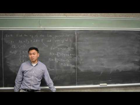 Find equation of line perpendicular to a plane