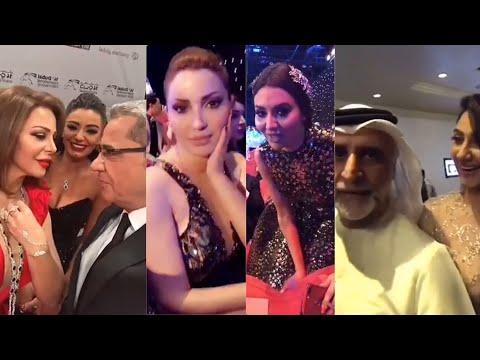 مصطفى الاغا مع نسرين طافش ، مريم حسين ، هيفاء حسين وزوجها ، افتتاح مهرجان دبي السينمائي