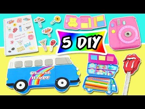 🥇𝟱 DIY SCHOOL SUPPLIES 👉 RETRO 🚎 to【 BACK TO SCHOOL 】🌈| aPasos Crafts DIY
