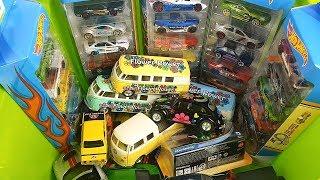 Box Full of Cars Hot Wheels Kinsmart Welly