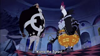 Royal Schibukai Bartholomew Kuma meets with Gekko Moria at thriller...