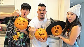 INSANE HALLOWEEN PUMPKIN CARVING CHALLENGE with a TWIST!!