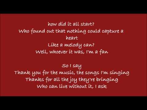 Thank You For The Music Lyrics Mamma Mia!