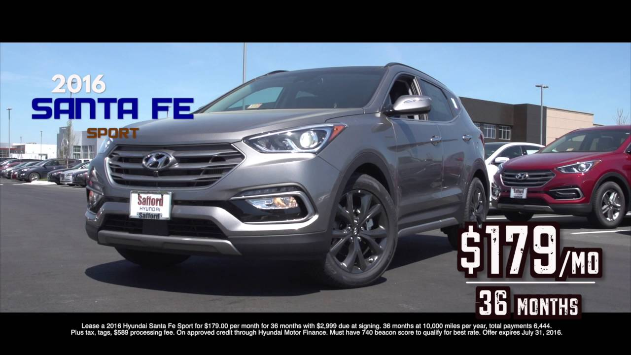 Hyundai Lease Deals >> 2016 Hyundai Santa Fe For 179 Mo Lease Safford Hyundai Youtube