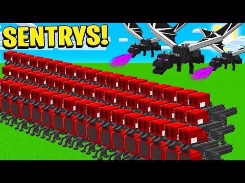 BUILDING 100 SENTRY GUNS IN MINECRAFT!
