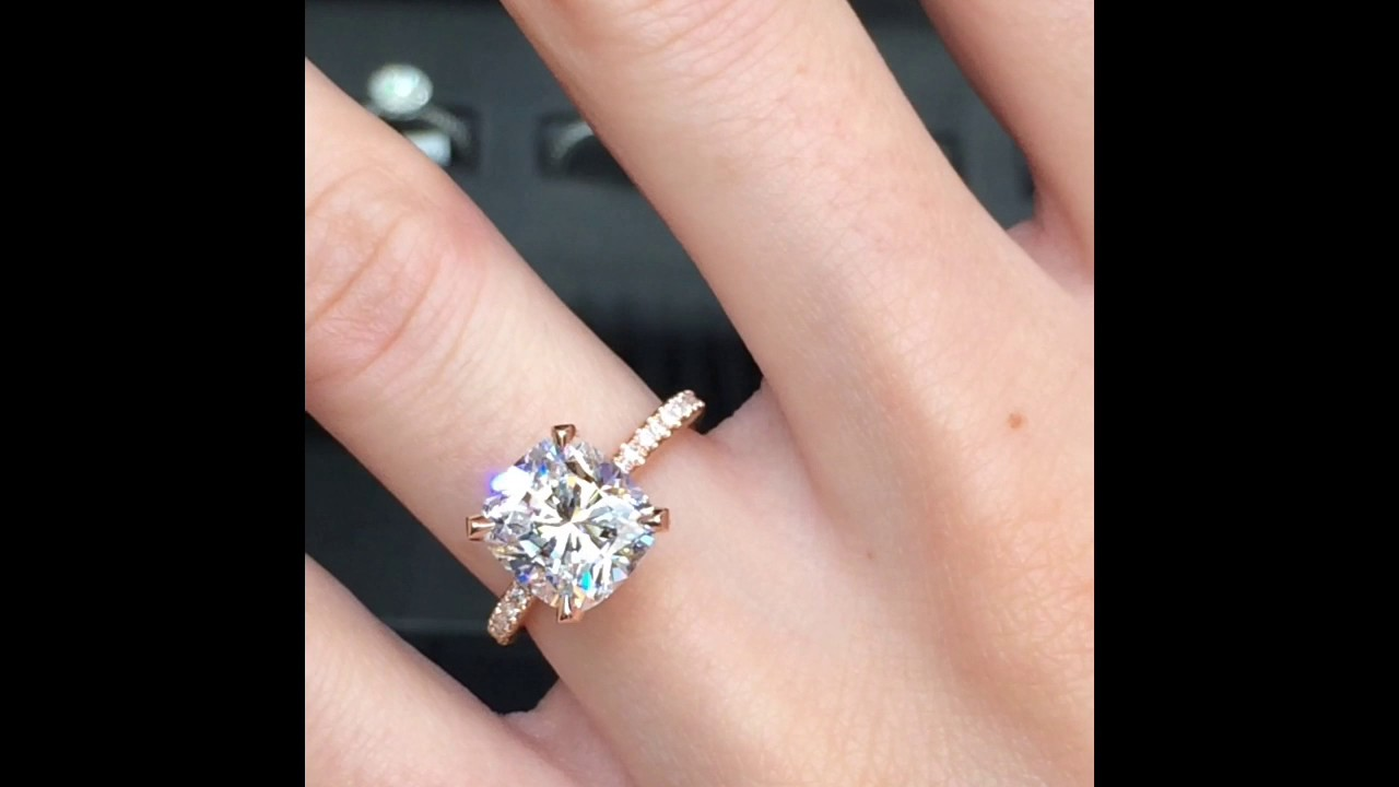 3 carat Cushion Cut Diamond Engagement Ring in Rose Gold - YouTube