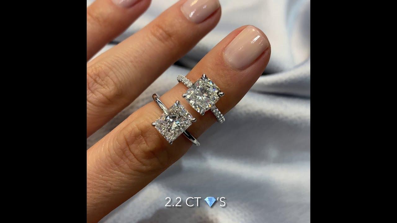 Lab Grown Diamond Rings: Cushion Cut VS Radiant