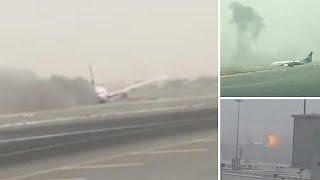 تعطل حركة الملاحة في مطار دبي بعد حادث تحكم طائرة الاماراتية