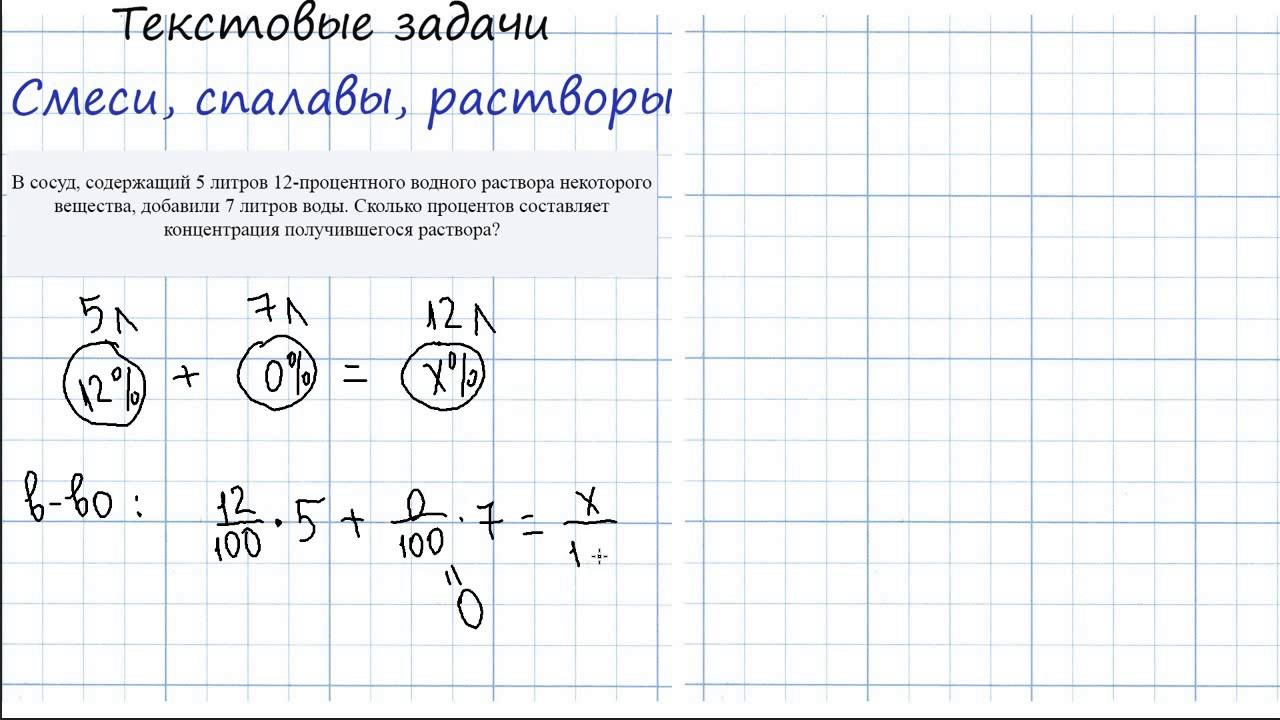 Решение задачи егэ на смеси форум решения задач по алгебре