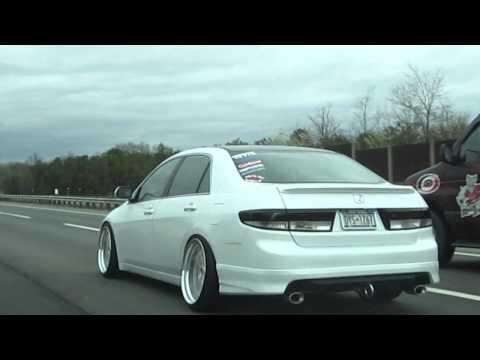 hellaflush Becky accord on WORK wheels cruising in the highway