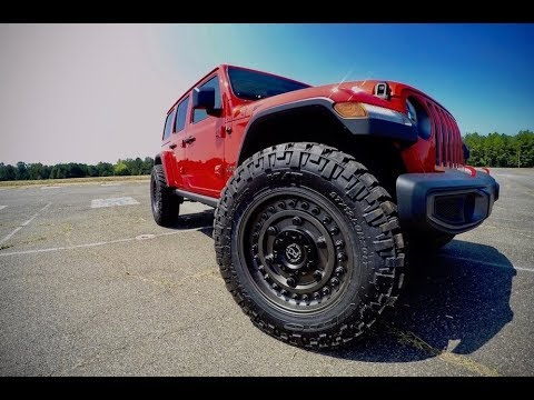 Jeep Wrangler Tires And Rims >> 37s on a Stock 2018 Jeep Wrangler JL - YouTube