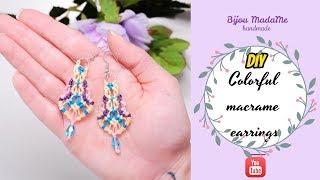 DIY easy colorful macrame earrings for beginners | DIY macrame jewelry | Macrame earrings tutorial