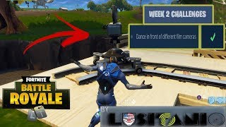 FORTNITE - DANCE IN FRONT OF DIFFERENT FILM CAMERAS (LOCATIONS) - WEEK 2 BATTLE PASS CHALLENGES