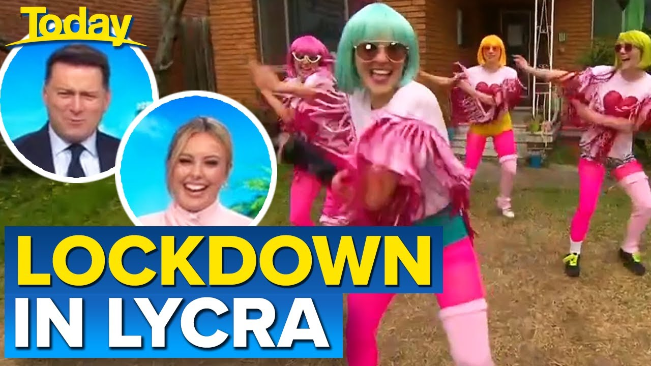 Lycra-clad front lawn performance stuns passers-by   Today Show Australia