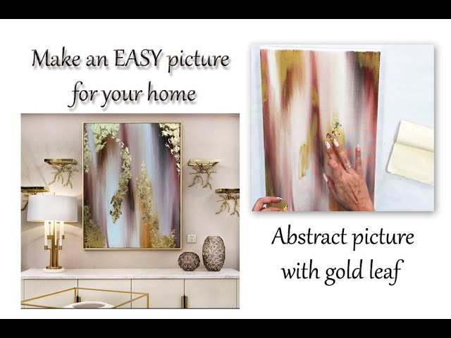 How to draw abstract painting with gold leaf/ Demonstration /Acrylic on canvas by Julia Kotenko