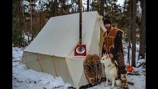 SNOWSTORM Solo Overnight Winter Camp | Canvas Tent & Gstove Review